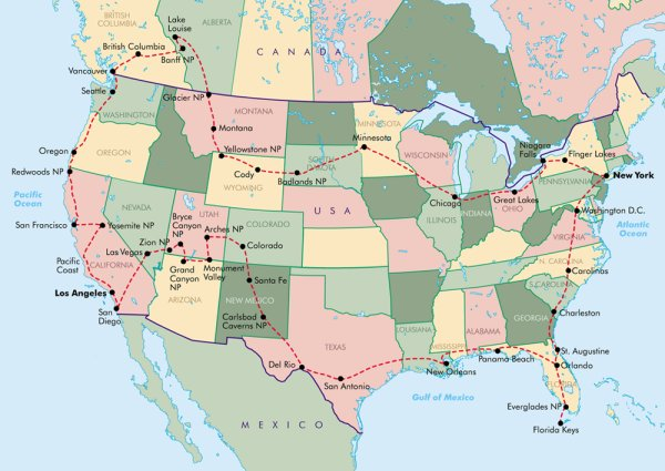 large route map trekamerica travel ltd